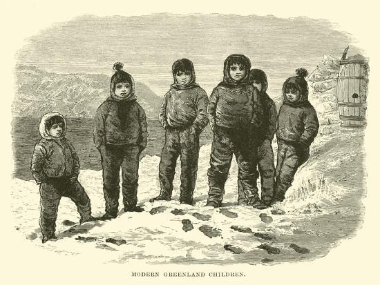 Modern Greenland Children--Giclee Print