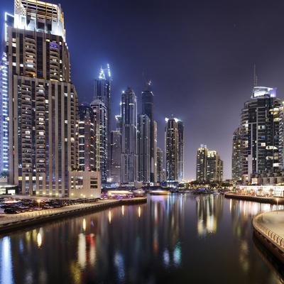 Modern High Rises, Dubai Marina by Night, Dubai, United Arab Emirates, the Middle East-Axel Schmies-Photographic Print