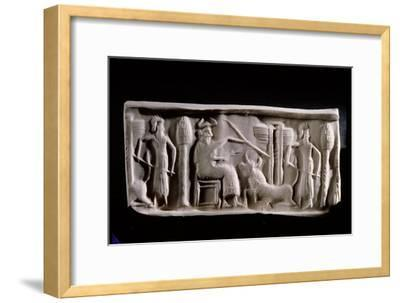 Modern Impression of an Akkadian Cylinder Seal Inscribed with a Scene of a Seated Deity Wearing…