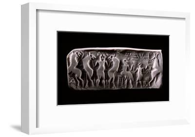 Modern Impression of an Early Dynastic Sumerian Alabaster Cylinder Seal