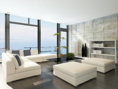 Modern Living Room with Huge Windows and Concrete Stone Wall-PlusONE-Photographic Print