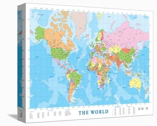 Modern Map Of The World.Modern Map Of The World Stretched Canvas Print By Art Com
