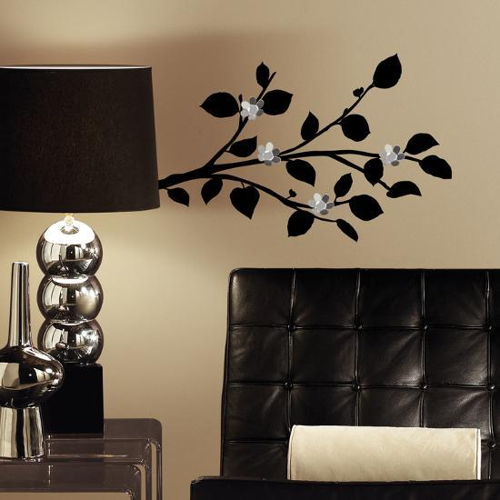 Modern Realistic Branch L And Stick Wall Decals With Bendable Flower Mirrors Decal