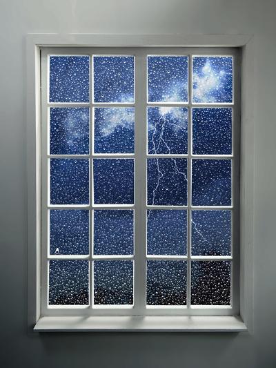 Modern Residential Window with Lightning and Rain Behind-ilker canikligil-Art Print