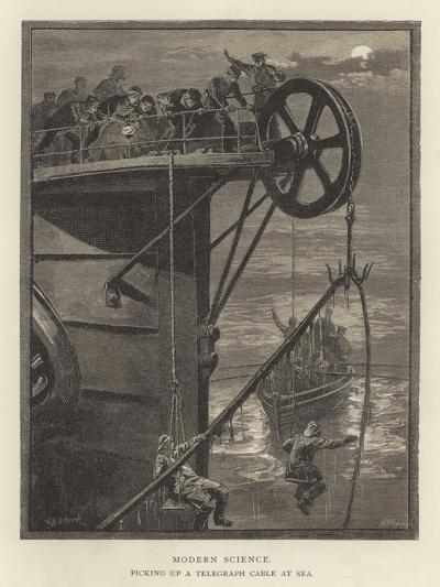Modern Science, Picking Up a Telegraph Cable at Sea--Giclee Print