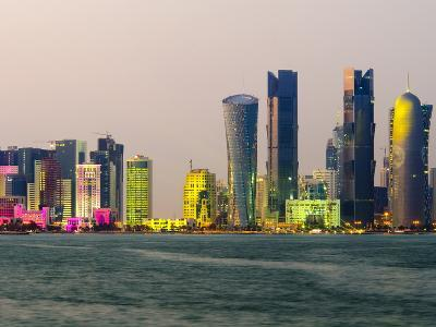 Modern Skyline, Doha, Qatar, Middle East-Alan Copson-Photographic Print