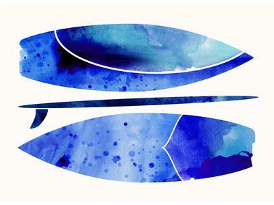 Indigo Surfboard Watercolor