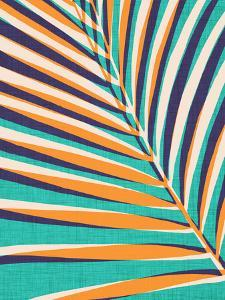 Modern Palm Leaf In Gold And Teal by Modern Tropical