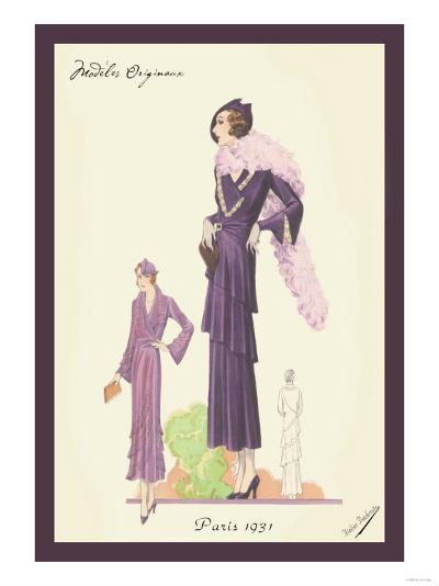 Modern Violet Dress with Boa--Art Print