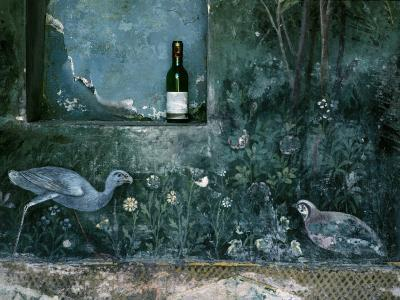 Modern Wine Bottle Sits Atop Shelf in Ancient Pompeii, Italy-O^ Louis Mazzatenta-Photographic Print
