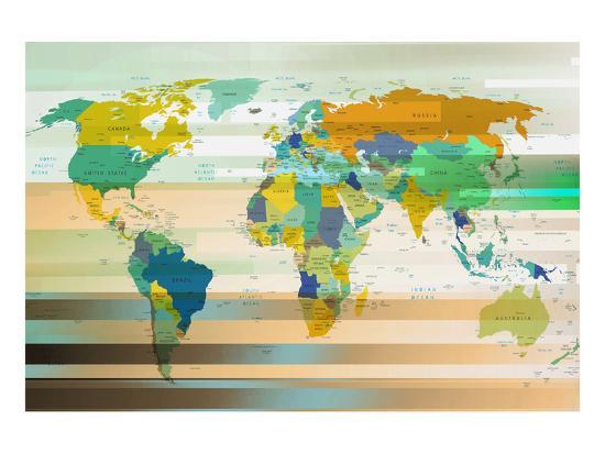 Modern Map Of The World.Modern World Map Iii Art Print By Art Com