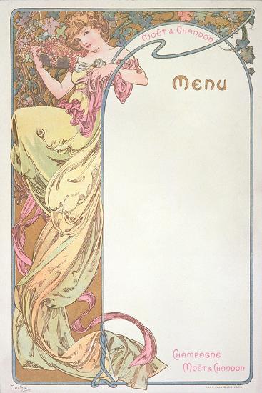 Moet and Chandon Menu, 1899-Alphonse Mucha-Giclee Print