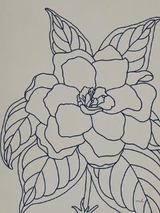 Gardenia Line Drawing Gray Crop by Moira Hershey