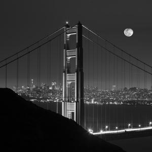 Golden Gate and Moon BW by Moises Levy