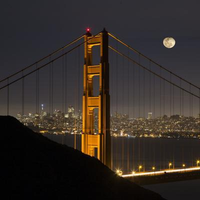 Golden Gate and Moon by Moises Levy