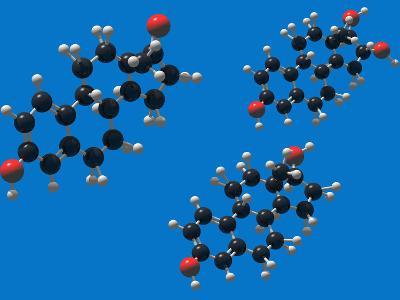 Molecular Models of the Estrogens: Estrone, Estriol and Estradiol-Carol & Mike Werner-Photographic Print