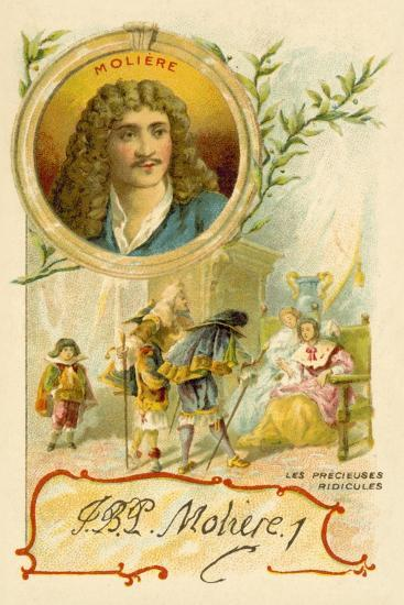 Moliere, French Playwright, and a Scene from His Play Les Precieuses Ridicules--Giclee Print