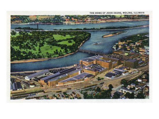 Moline, Illinois, Aerial View of the John Deere Plant-Lantern Press-Art Print
