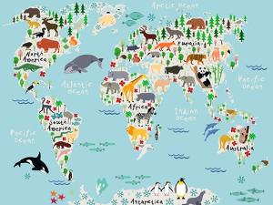Animal Map of the World for Children and Kids by Moloko88