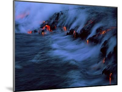 Molten Lava Flowing Into the Ocean-Brad Lewis-Mounted Premium Photographic Print