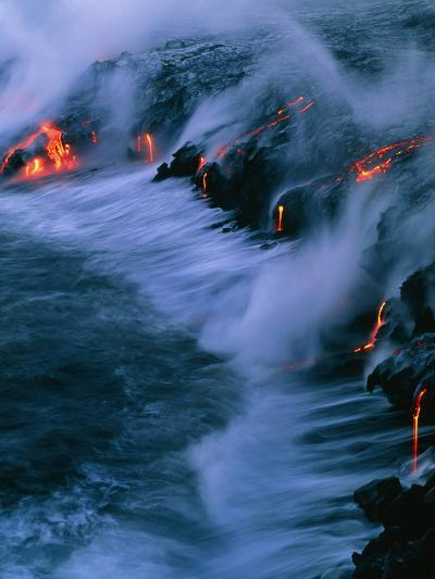 Molten Lava Flowing Into the Ocean-Brad Lewis-Photographic Print