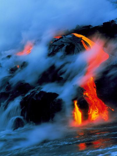 Molten Pahoehoe Lava Flowing Into the Ocean-Brad Lewis-Photographic Print