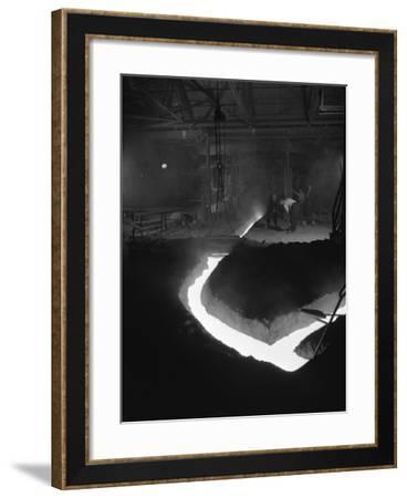 Molten Steel Being Channelled at the Stanton Steel Works, Ilkeston, Derbyshire, 1962-Michael Walters-Framed Photographic Print