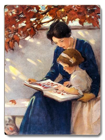 Mom and Daughter Reading--Wood Sign