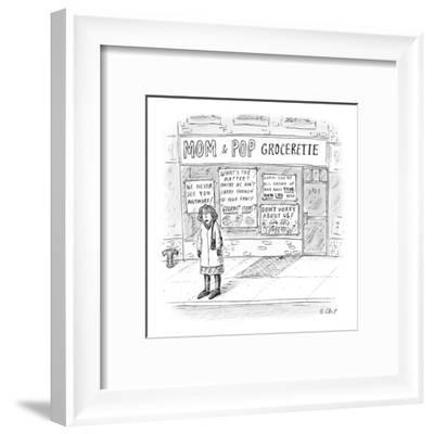 Mom & Pop Grocerette - New Yorker Cartoon-Roz Chast-Framed Premium Giclee Print