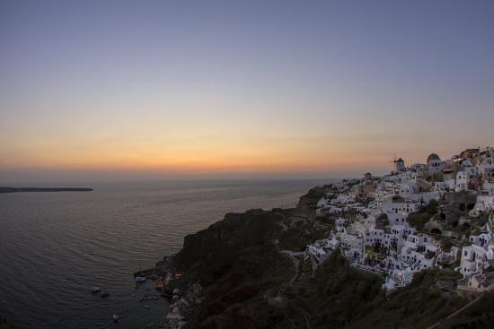 Moments after Sunset at the Mediterranean Island of Santorini Island, the Crescent Moon Appears-Babak Tafreshi-Photographic Print