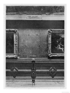 Mona Lisa the Gap on the Wall of the Carre Gallery of the Louvre Museum Paris