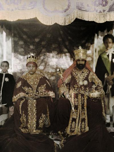 Monarchs Haile Selassie the First and Manen, Pose in their Robes-W^ Robert Moore-Photographic Print