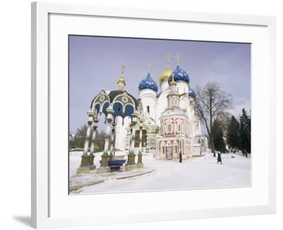Monastery of the Christian St. Sergius Cathedral of the Assumption in Snow, Moscow Area, Russia-Gavin Hellier-Framed Photographic Print