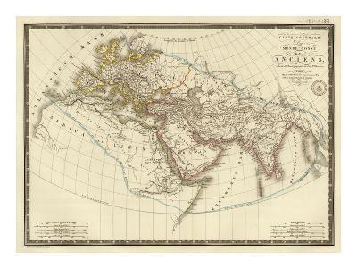 Monde Connu des Anciens, c.1821-Adrien Hubert Brue-Art Print