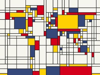 Mondrian Abstract World Map-Michael Tompsett-Stretched Canvas Print