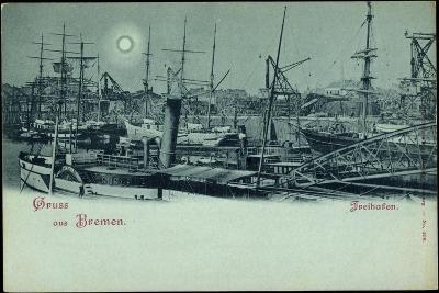 Mondschein Bremen, Partie Im Freihafen, Schiffe--Giclee Print