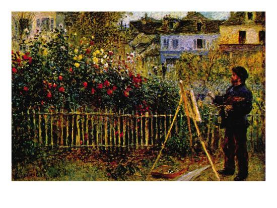 Monet Painting In His Garden In Argenteuil-Claude Monet-Premium Giclee Print