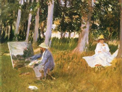 Monet Painting Woods, 1888-John Singer Sargent-Giclee Print