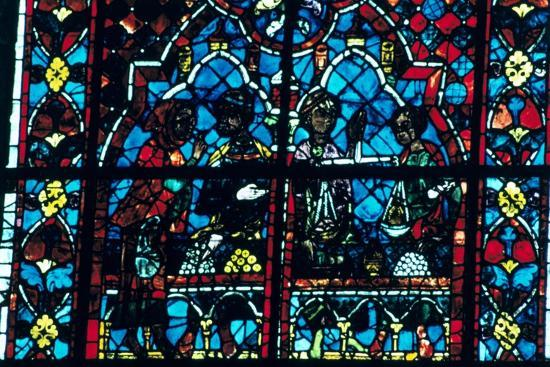 Money changers, stained glass, Chartres Cathedral, Chartres, France. Artist: Unknown-Unknown-Giclee Print