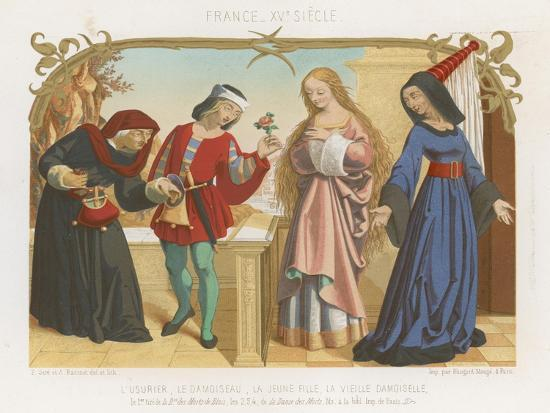 Money Lender, Squire, a Young Woman and an Old Woman--Giclee Print