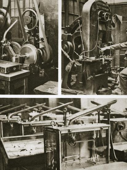 Money making; stamping and milling the disks and weighing the finished coins, 20th century-Unknown-Photographic Print