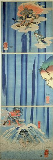 Mongaku Shonin under the Waterfall, C.1851 (Vertical Triptych)-Kuniyoshi Utagawa-Giclee Print