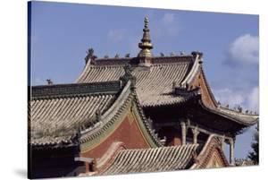 Mongolia, Ulan Bator, Architectural Detail of Choigyn Lam Soum Monastery