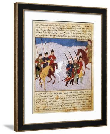 Mongolian Cavalry and Infantry, Miniature from the Manuscript 1113, Folio 279, Verso, Persia--Framed Giclee Print