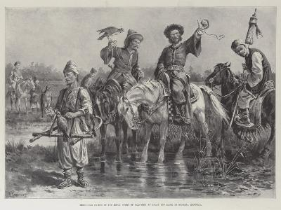 Mongolian Chiefs at the Royal Sport of Falconry at Dalay Nov Lake, in Western Mongolia-Paul Frenzeny-Giclee Print