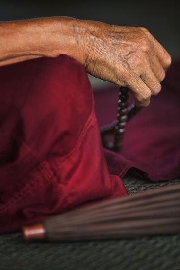 Monk at Prayer in Sule Paya-Jon Hicks-Photographic Print