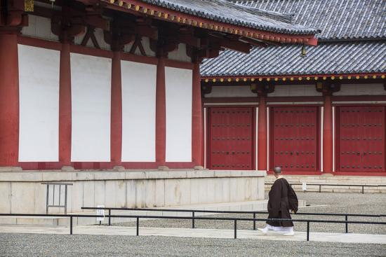 Monk at Shitenno-Ji Temple, Tennoji, Osaka, Kansai, Japan-Ian Trower-Photographic Print