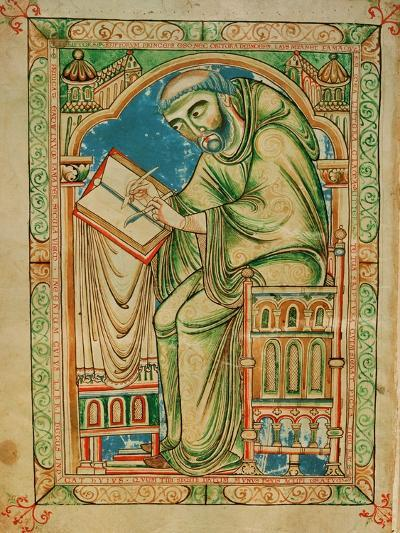 Monk Eadwine at Work on the Manuscript, circa 1150--Giclee Print