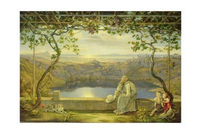 Monk sitting on a Terrace overlooking Lake Nemisee, 1818-Joachim Faber-Giclee Print