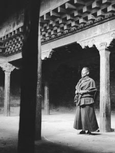 Monk (Trappist) Inside of Th Consacrated Chapel of the Gyantse Fort (Gyantse Dzong)